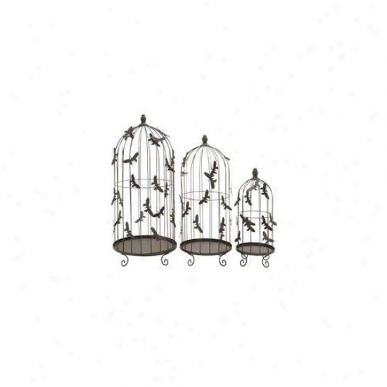 Woodland Impodt 55187 Bird Cage With Metal Butterflies All Over Cage - Set Of 3