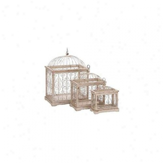Woodland Import 63385 Metal Bird Cage With Celestial Designs - Set Of 3