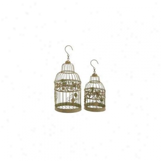 Woodland Import 66031 Metal Birdcages In Dull Gold Antique Polish - Set Of 2