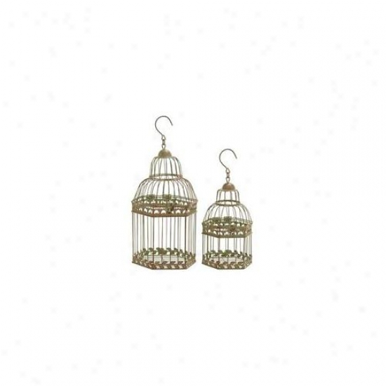 Woodland Import 66032 Birdcages In Gold Antique Polish Floral Pattern - Set Of 2