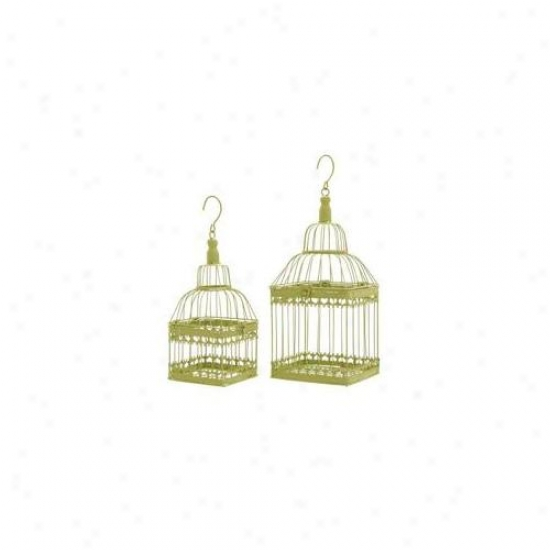 Woodland Import 66564 Bird Cage With Unique And Solid Design - Set Of 2