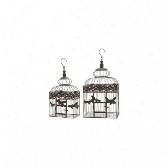 Woodland Imprt 66566 Bird Cage With Metal Butterflies & Artistic Curve - Set Of 2