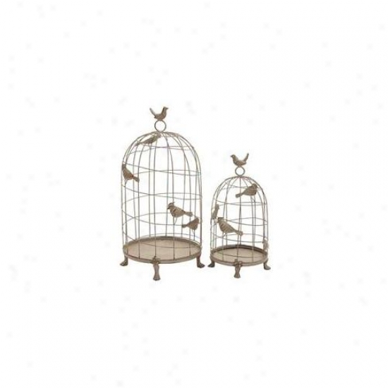 Wooddland Import 92604 Birdcage Set Of 2 In Classic Mix Of Elegance And Grandiose
