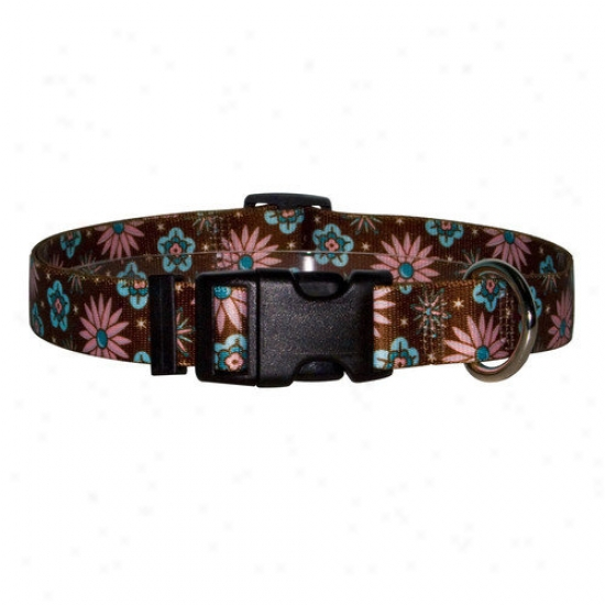 Yellow Dog Contrivance Pink And Teal Flowers Standard Collar