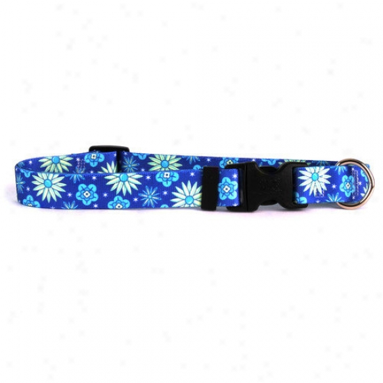 Golden Dog Design Teal Flowers Standard Collar