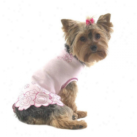 A Pet's World Embroide5ed Flower Dog T-shirt Wit hScalloped Edge