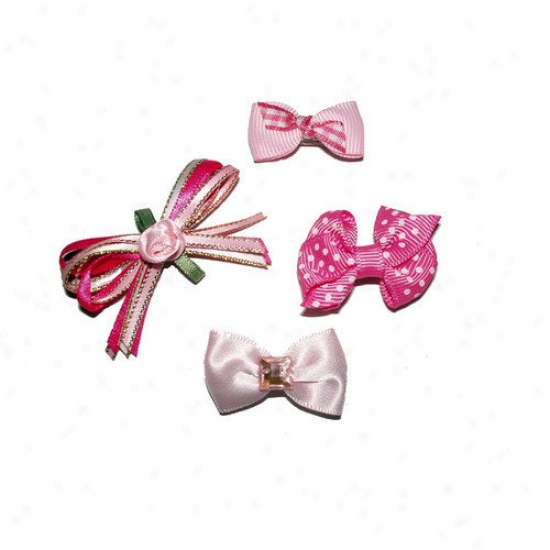 A Pet's World Four Girly Girl Dog Hair Bow Barrettes