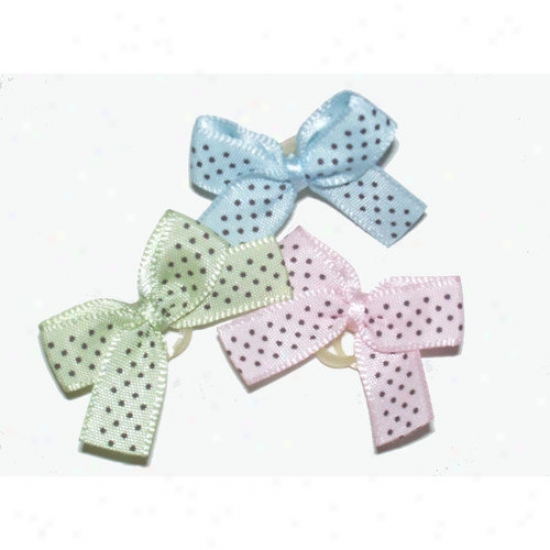 A Pet's World Petite Satin Dottie Dog Hair Bows On Elastic Grooming Bands