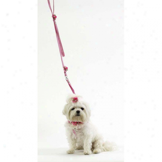 A Pet's Natural order Pink Gingham One Painting Step In Harness With Petal Flower Rosettes And Pearls