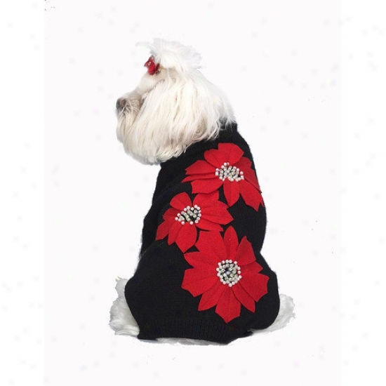 A Pet's World Poinsettia Applique Do gSweater