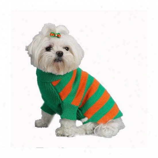 A Pet's World Rugby Stripe Turtleneck Dog Sweater