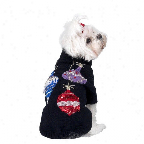 A Pet's World Sequins And Beads Ornaments Christmas Dog Sweater