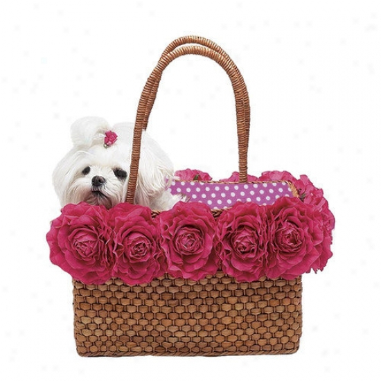 A Pet's World Straw Dog Tote With Big Pink Blossoms