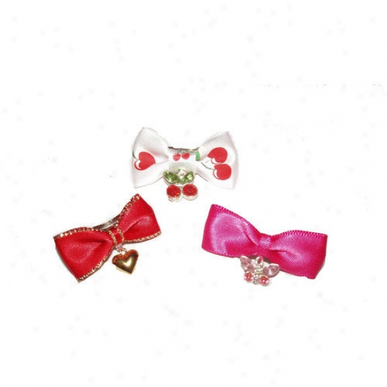 A Pet's World Three Charming Dog Hair Bow Barrettes