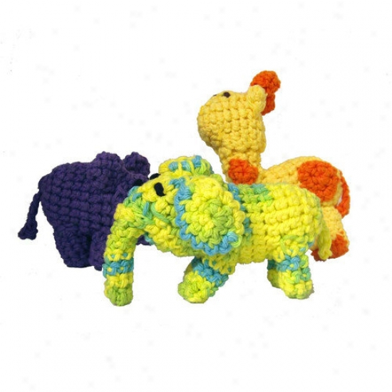 A Pet's World Trio Of Hand Crocheted Safari Dog Toys With Squeaker
