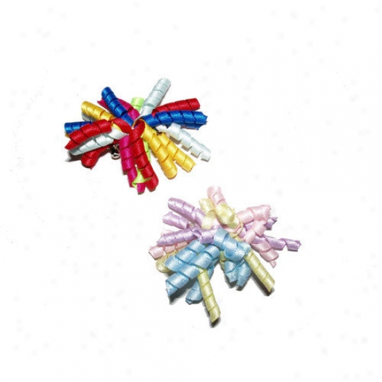 A Pet's Earth Two Curly Ribbon Dog Barrettes