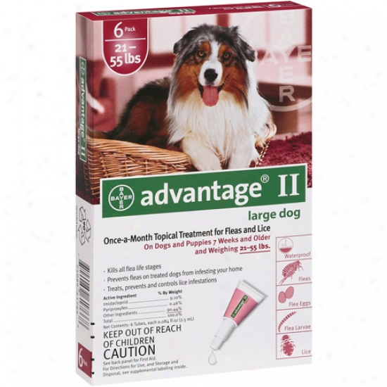 Advantage Ii Flea And Lice Topical Treatmrnt For Dogs 21-55 Lbs, 6ct