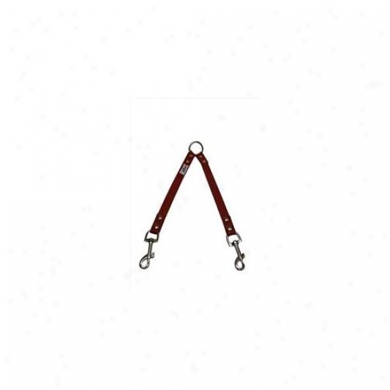 Angel Pet Supplies 40041 Leather Couplers - 2 Dog In Valentine Red