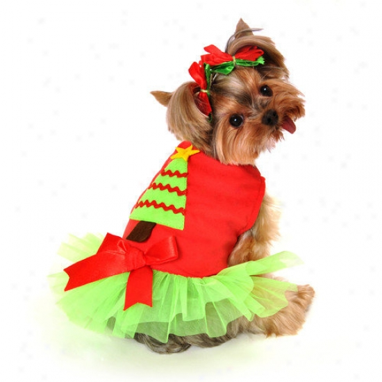 Anit Acceseories Christmas Tree Dress Dog Costume