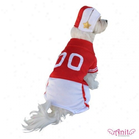 Anit Acxessories Red Football Player Dog Costume