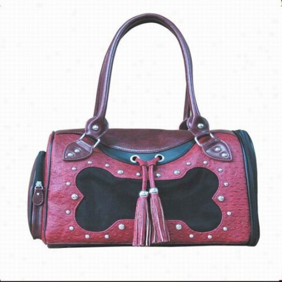 Backbone Pet Faux Leather Handbag Pet Carrier In Burgundy Bones