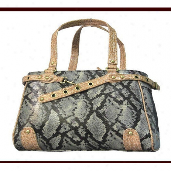 Backbone Pet Faux Leather Handbag Pet Carrier In Snake Silver