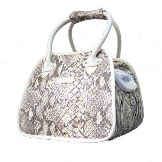 Backbone Pet Faux Leather Handbag Angry mood Carrier In Snake White