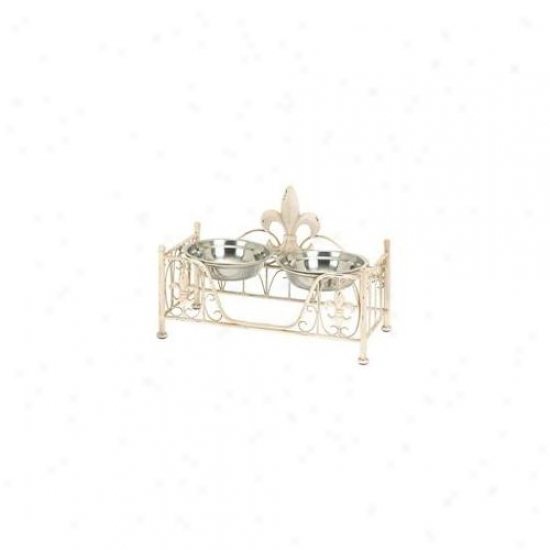 Benzara 50907 Metal Pet Bowl Through  Intricate Detailing In Soft Cream Shade