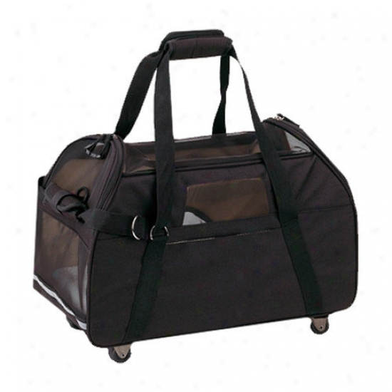 Bergan Pet Products Large Wheeled Comfort Pet Carrier In Black