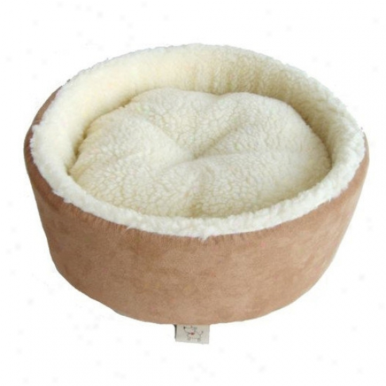 Best Pet Supplies Round Nest Pet Bed In Light Brown Suede