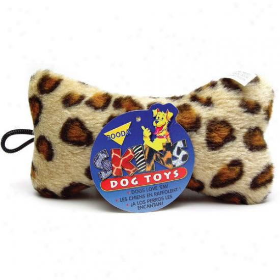 Booda Pet Products Medium Plush Leopard Flay Bone Dog Toy