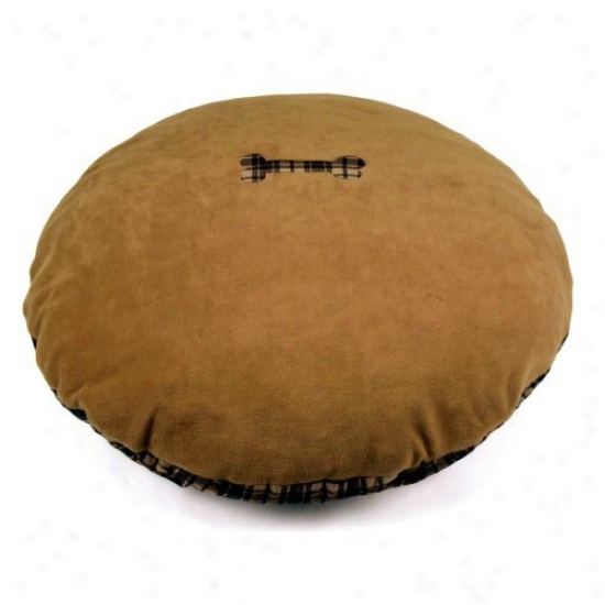 Brinkmann 40 In. Round Flannel & Thermal Fleece Bed With Bone Applique