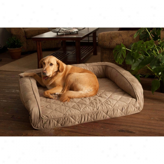 Buddy Beds Luxury Memory Foam Bolster Dog Bed With Quilted Taupe Microfiber Conceal