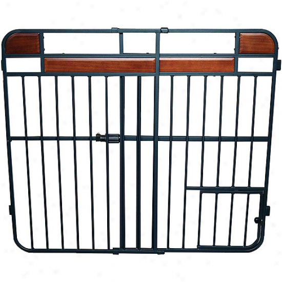 Carlson 0832ds Hmoe Decor Extra Tall Expandable Pet Gate, Charcoal Armor With Cherry Forest