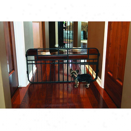 Carlaon Intention Stuido Mini Expandable Pet Gate, Charcoal With Cherry Wood