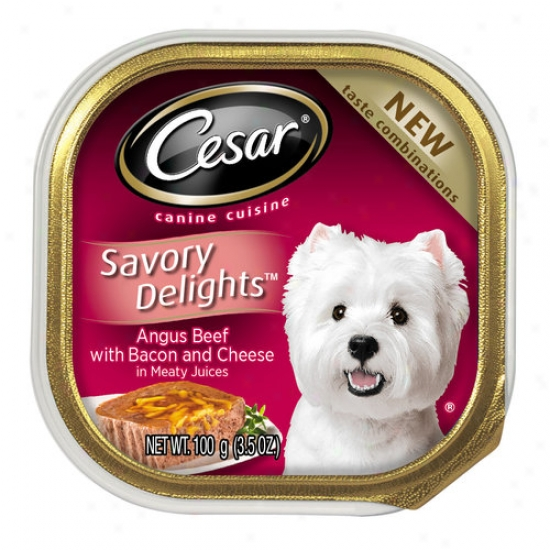 Cesar Savory Delights nAgus Beef Flavor With Bacon And Cheese Canned Dog Food, 3.5 Oz