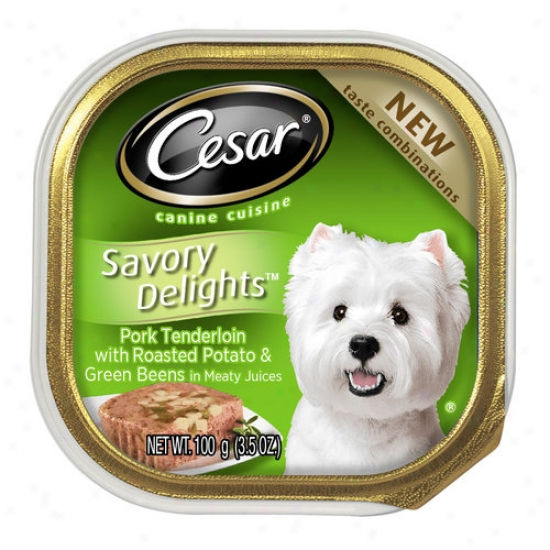 Cesar Relishing Delights Pork Tenderloin Flavor With Roasted Potatoes And Green Beans Canned Dog Food, 3.5 Oz