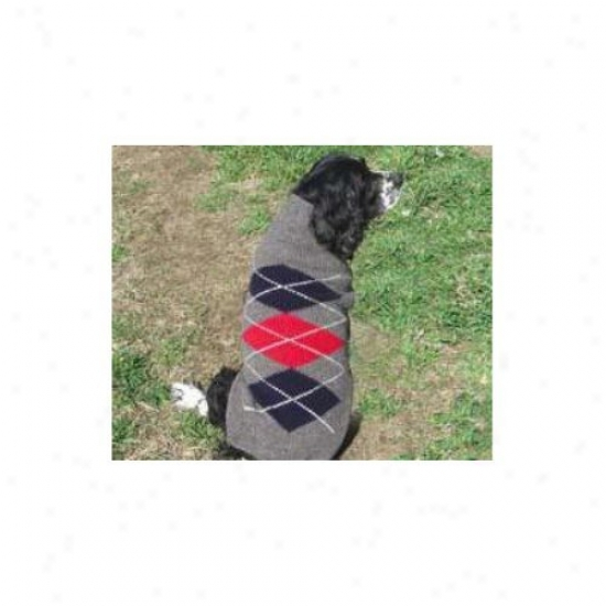 Chilly Dog Grey Classic Argyle Dog Sweater