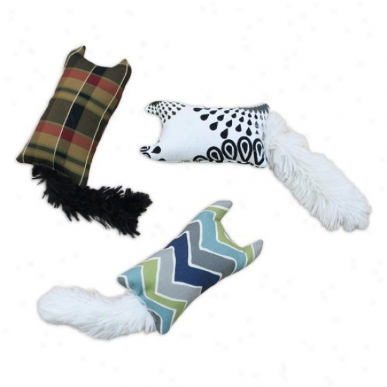 Chooty & Co Assorted Set Of 3 Rectqngle Plaything With Shaggy Tails - Patterns Will Vary