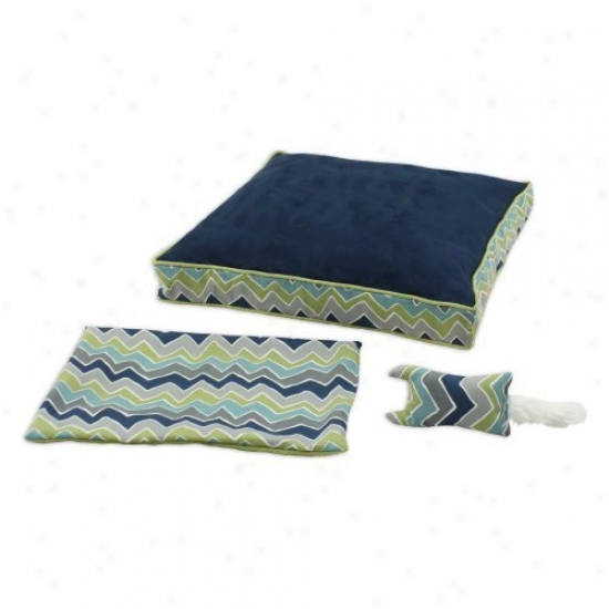 Chooty & Co Ps Navy-see Saw 23 X 23 In. Boxed Pet Bed And Versatile Cover And Rectangle Toy - Set Of 3