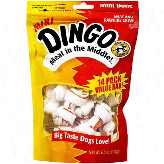 Dingo Mini Meat In The Middle Rawhide Chew Bone , 14ct