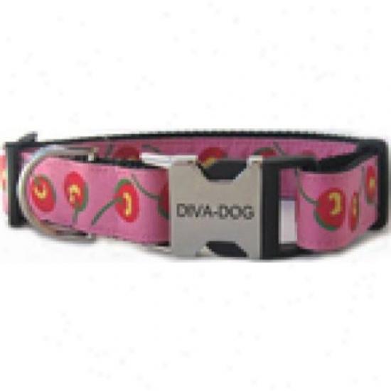 Diva-dog 2628595 Cherries Xs/s Adjusatble Collar Metal/plastic Buckle