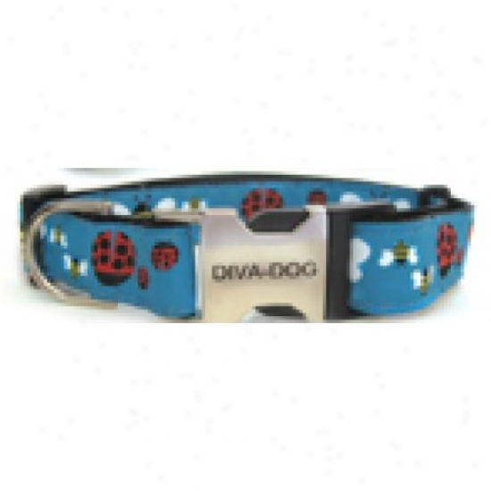 Diva-dog 5404944 Lady Bugs And Bumble Bees Xs/s Adjustable Collar Metal/plastic Buckle