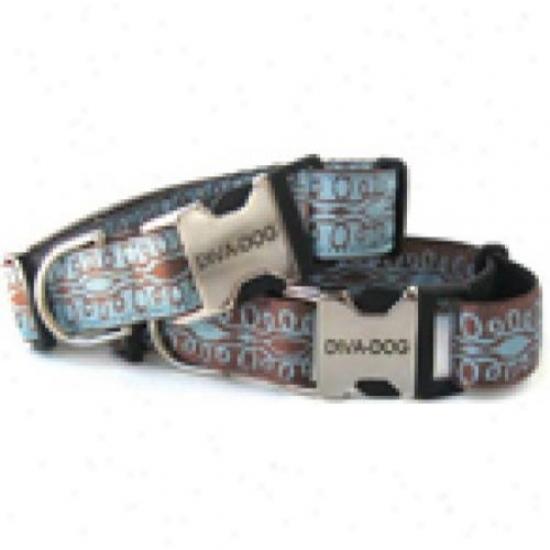 Diva-dog 6266084 Calligraphy Brown On Blue M/l Adjustable Collar Metal/plastic uBckle