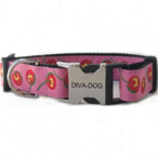 Diva-dog 6266094 Cherries M/l Adjustable Collar Metal/plastic Buckle