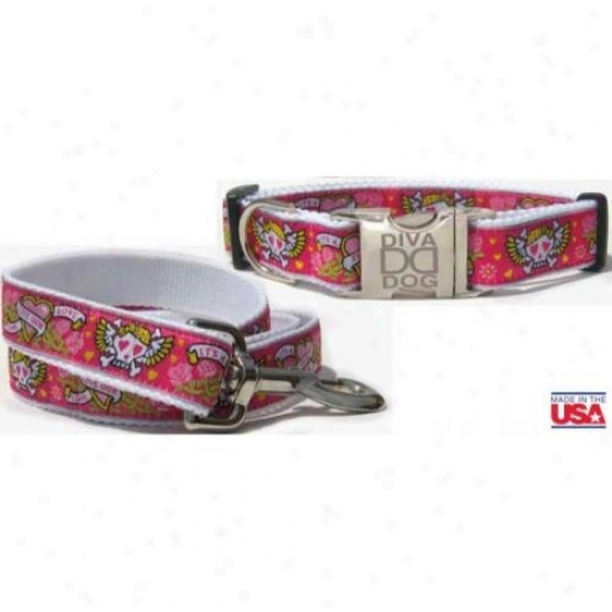 Diva-dog 8706927 Wild One Pink M/l Collar And Leash