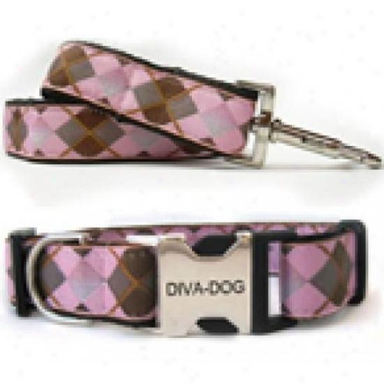 Diva-dog 8903119 Argyle M/l Collar And Leash Metal/plastic Buckle