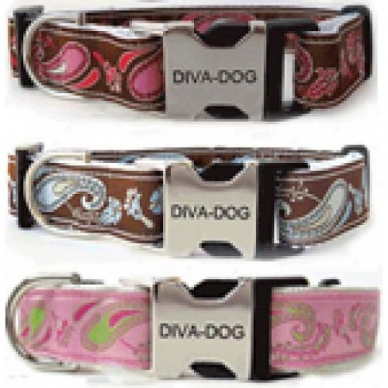 Diva-dog 8903157 Turquoise Boho Xs/s Collar And Leash Metal/plastic Buckle