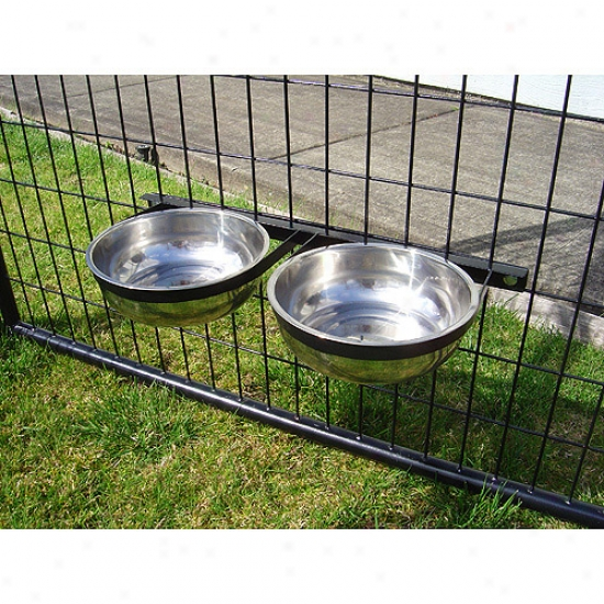 Dog Kennel Accessory - Static Two Bowl System