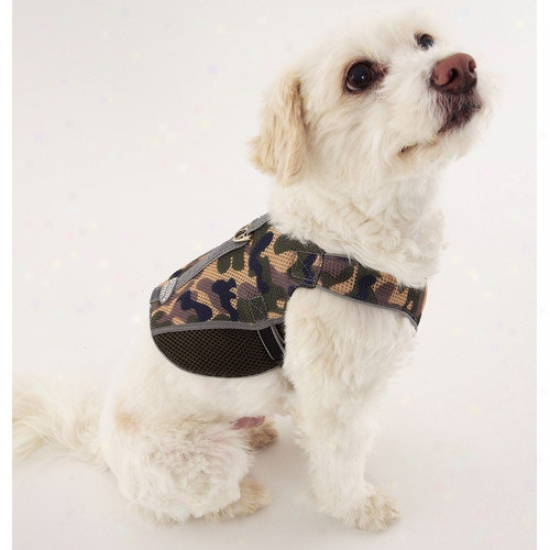 Doggles Dog Wear Reflective Mesh Vest Harness In Green Camo